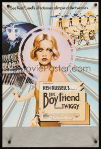 5j066 BOY FRIEND 2 English double crowns '71 cool art of sexy Twiggy, directed by Ken Russell!