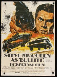 5j067 BONNIE & CLYDE/BULLITTBritish quad '69 great close up of Steve McQueen, car chase art!
