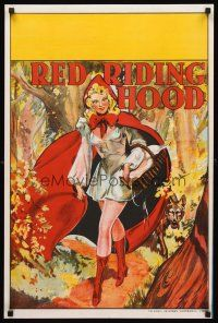 5j079 RED RIDING HOOD stage play English double crown '30s stone litho art of sexy Red!
