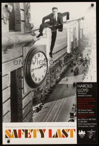 5j081 SAFETY LAST English double crown R90s classic Harold Lloyd hanging from clock over street!