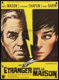 5j660 COP-OUT French 23x32 '68 close-up artwork of James Mason & Geraldine Chaplin!
