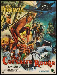 5j664 CRIMSON PIRATE French 23x32 R60s great art of barechested Burt Lancaster by Jean Mascii!