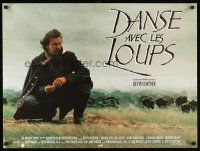 5j666 DANCES WITH WOLVES French 23x32 '91 cool image of Kevin Costner & buffalo!