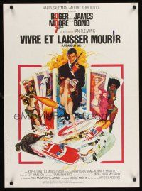 5j709 LIVE & LET DIE French 23x32 R80s art of Roger Moore as James Bond by Robert McGinnis!