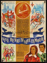 5j710 LONG LIVE HENRY IV LONG LIVE LOVE French 23x32 '61 cool medieval art by Guy Gerard Noel!