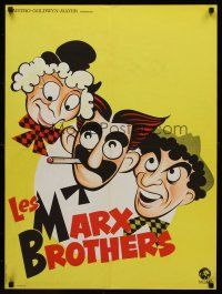 5j713 MARX BROTHERS French 23x32 '70s great Hirschfeld art of Groucho, Harpo & Chico!