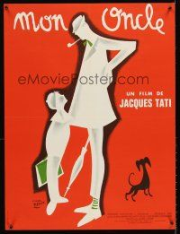 5j716 MON ONCLE French 23x32 R70s Jacques Tati as My Uncle, Mr. Hulot, great Etaix art!