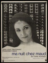 5j719 MY NIGHT AT MAUD'S French 23x32 '69 Rohmer's Ma nuit chez Maud, Marie-Christine Barrault!