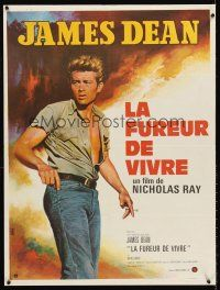 5j738 REBEL WITHOUT A CAUSE French 23x32 R70s Nicholas Ray, different art of James Dean by Mascii!