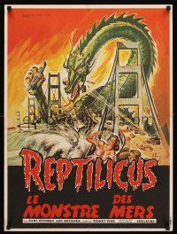 5j739 REPTILICUS French 23x32 '70s indestructible 50 million year-old giant lizard destroys bridge!