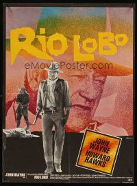 5j742 RIO LOBO French 23x32 '71 Howard Hawks, Give 'em Hell, John Wayne, great cowboy image!