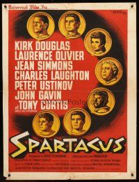 5j752 SPARTACUS French 23x32 '61 Stanley Kubrick epic, art of cast on gold coins by Koutachy!