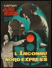 5j756 STRANGERS ON A TRAIN French 23x32 R50s Hitchcock, Granger & Walker in double murder pact!