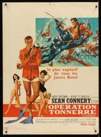 5j761 THUNDERBALL French 23x32 '65 art of Sean Connery as secret agent James Bond 007!