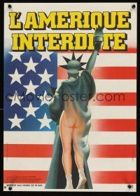 5j799 THIS IS AMERICA French 15x21 '82 wacky different art of half-naked Lady Liberty by Landi!