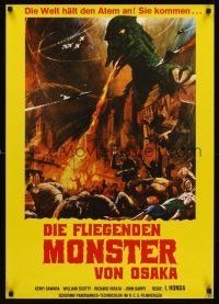 5j312 RODAN German R70s Sora no Daikaiju Radon, art of the monster burning Tokyo, Ishiro Honda!