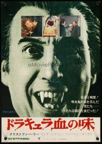 5j054 TASTE THE BLOOD OF DRACULA 2-sided Japanese 14x20 '70 vampire Christopher Lee showing fangs!