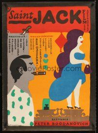 5j208 SAINT JACK Polish 27x38 '83 Peter Bogdanovich, great different art by Jan Mlodozeniec!