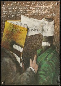 5j210 SIEKIEREZADA Polish 27x38 '85 cool artwork of hatchet & book heads by Andrzej Pagowski!
