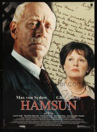 5j026 HAMSUN Swedish 24x33 '96 Jan Troell directed, cool portrait of Max von Sydow & Ghita Norby!