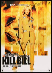 5j001 KILL BILL: VOL. 1 advance Thai poster '03 super sexy full-length Uma Thurman w/sword!