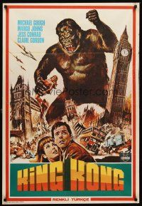 5j012 KONGA Turkish '61 great artwork of giant angry ape terrorizing London, King Kong!