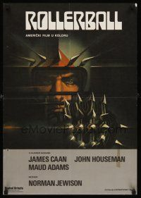 5j253 ROLLERBALL Yugoslavian '75 James Caan in a future where war does not exist, Bob Peak art!