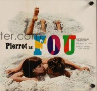 5j056 PIERROT LE FOU 2-sided Japanese 10x21 '65 Godard, painted Jean-Paul Belmondo, Anna Karina!