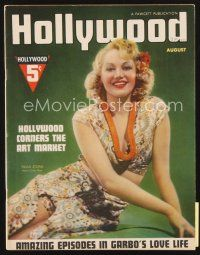 5m091 HOLLYWOOD magazine August 1937 full-length portrait of sexy Paula Stone!