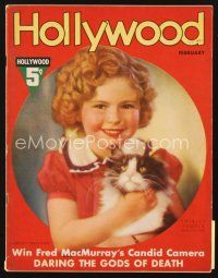 5m085 HOLLYWOOD magazine February 1937 portrait of cute Shirley Temple & cat by Edwin Bower Hesser!