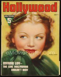5m090 HOLLYWOOD magazine July 1937 great head & shoulders portrait of sexy Simone Simon!