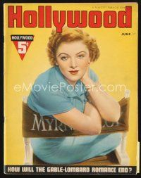 5m089 HOLLYWOOD magazine June 1937 portrait of pretty Myrna Loy sitting in her chair!