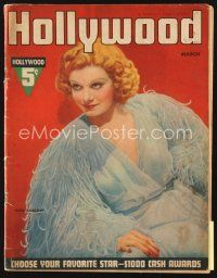 5m086 HOLLYWOOD magazine March 1937 wonderful portrait of sexy Jean Harlow in feathered dress!