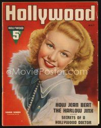 5m088 HOLLYWOOD magazine May 1937 great head & shoulders portrait of pretty Ginger Rogers!