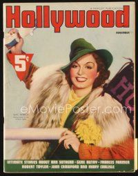 5m094 HOLLYWOOD magazine November 1937 Gail Patrick at football game, Carole Lombard for Lucky!