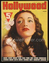 5m093 HOLLYWOOD magazine October 1937 portrait of beautiful Dorothy Lamour by Alex Kahle!