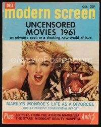 5m084 MODERN SCREEN magazine October 1961 Marilyn Monroe's life as a divorcee, Uncensored movies!