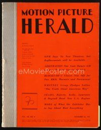5m064 MOTION PICTURE HERALD exhibitor magazine November 22, 1941 great 2-page Dumbo ad, Bud & Lou!