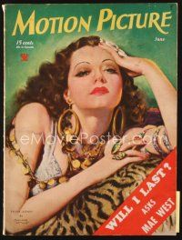 5m107 MOTION PICTURE magazine June 1934 artwork of sexy seductive Sylvia Sidney by Marland Stone!