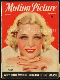 5m110 MOTION PICTURE magazine September 1934 art of beautiful Glenda Farrell by Marland Stone!