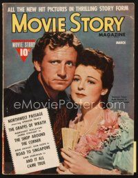 5m115 MOVIE STORY magazine March 1940 Spencer Tracy & Ruth Hussey in Northwest Passage!
