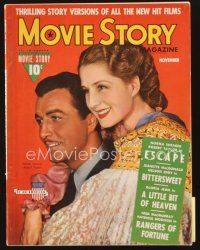5m123 MOVIE STORY magazine November 1940 Robert Taylor & Norma Shearer in Escape!