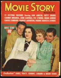 5m122 MOVIE STORY magazine October 1940 Gable, Spencer Tracy, Colbert & Hedy Lamarr in Boom Town!