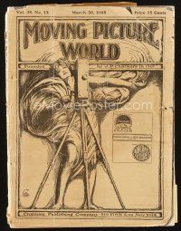 5m056 MOVING PICTURE WORLD exhibitor magazine Mar 30, 1918 2pg cartoon of Chaplin's A Dog's Life!