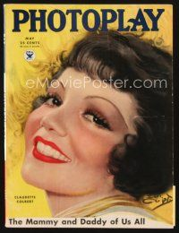 5m075 PHOTOPLAY magazine May 1934 art of pretty smiling Claudette Colbert by Earl Christy!