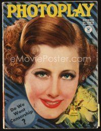5m077 PHOTOPLAY magazine October 1934 great artwork of pretty Irene Dunne by Earl Christy!