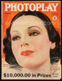 5m076 PHOTOPLAY magazine September 1934 art of beautiful Dolores Del Rio by Earl Christy!