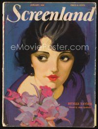 5m129 SCREENLAND magazine January 1928 great art of sexy Estelle Taylor by Anita Parkhurst!
