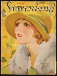 5m131 SCREENLAND magazine March 1928 artwork of beautiful Mary Pickford by Anita Parkhurst!