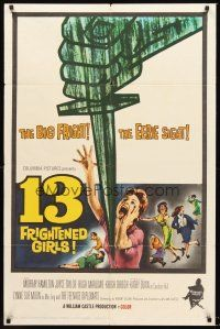 5p008 13 FRIGHTENED GIRLS 1sh '63 William Castle, cool plunging knife & screaming women artwork!